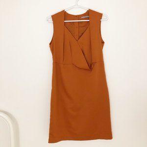 Cos Orange Rust Textured Asymmetrical Draped Dress